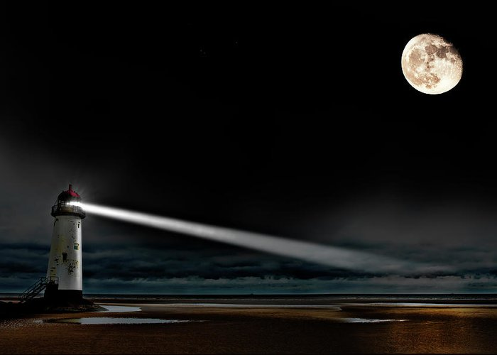 Lighthouse Greeting Card featuring the photograph Two Guiding Lights by Meirion Matthias