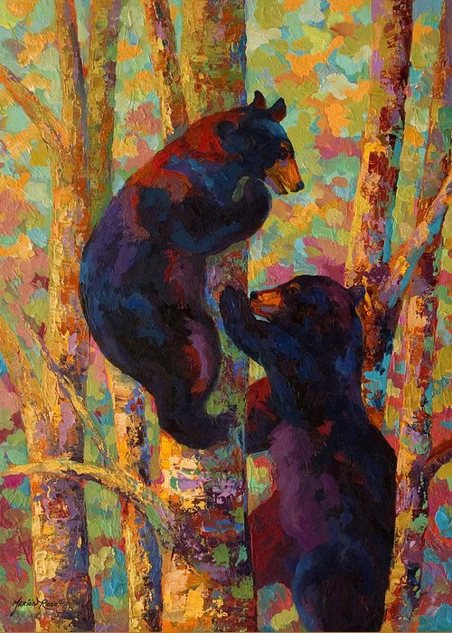 Bear Greeting Card featuring the painting Two High - Black Bear Cubs by Marion Rose