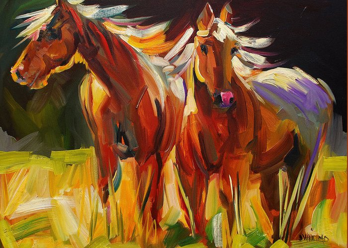 Painting Greeting Card featuring the painting Two Horse Town by Diane Whitehead