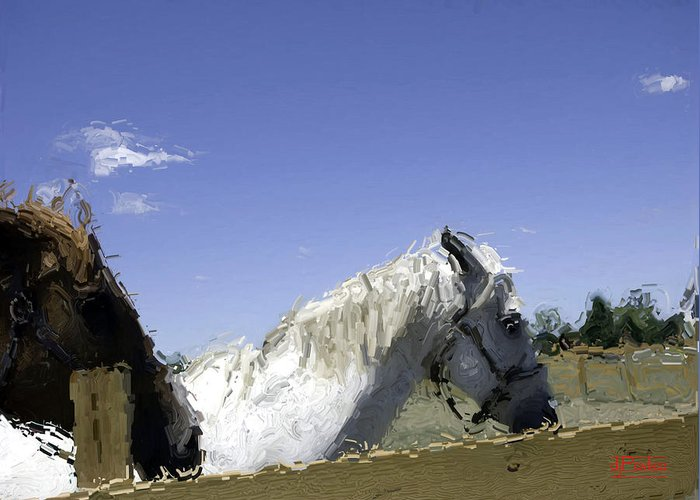 Horses Greeting Card featuring the digital art Two Horses by Donald Pavlica