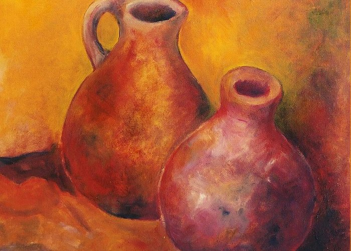 Oil Greeting Card featuring the painting Two Jars by Jun Jamosmos