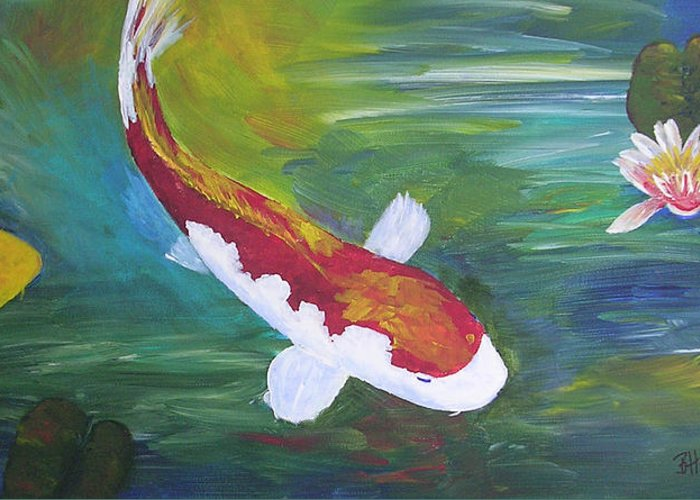 Koi Greeting Card featuring the painting Two Koi And Water Lily by Barbara Harper