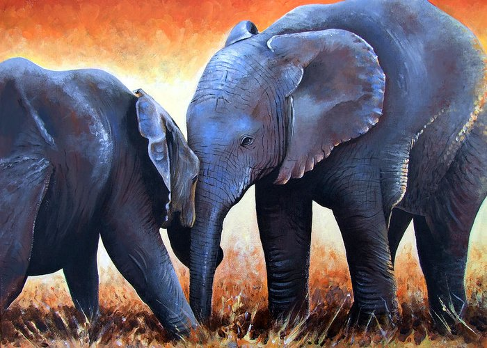 Elephants Greeting Card featuring the painting Two Little Elephants by Paul Dene Marlor