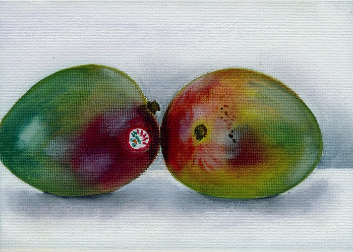 Still-life Greeting Card featuring the painting Two Mangoes by Sarah Lynch