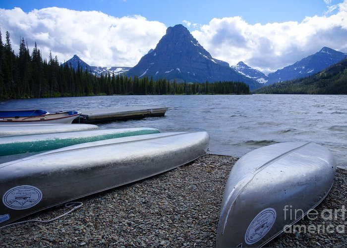 Canoes Greeting Card featuring the photograph Two Medicine Lake by Idaho Scenic Images Linda Lantzy