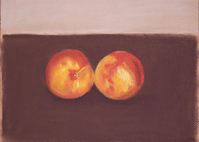 Nectarines Greeting Card featuring the pastel Two Nectarines by Marina Garrison