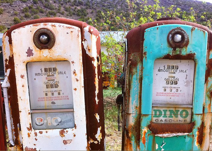 Two Old Gas Pumps Greeting Card