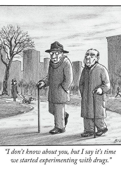 Cane Greeting Card featuring the drawing Two Older Men Walk With Canes Through A Park. by Harry Bliss