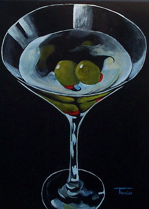 Martini Greeting Card featuring the painting Two Olive Martini by Torrie Smiley