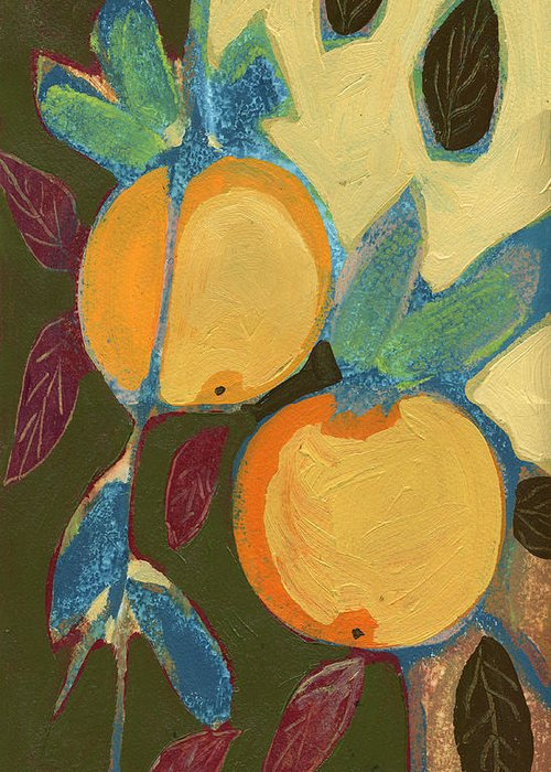 Orange Greeting Card featuring the painting Two Oranges by Jennifer Lommers