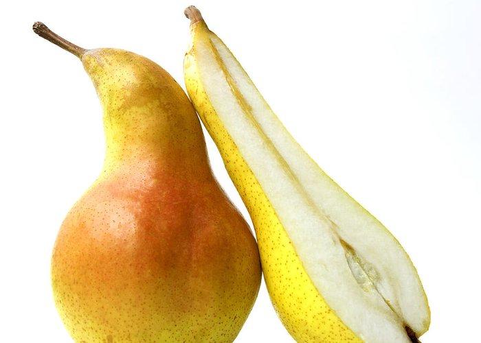 Studio Shot Greeting Card featuring the photograph Two Pears by Bernard Jaubert