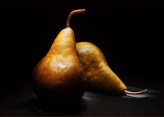 Pears Greeting Card featuring the photograph Two Pears Light Painted On Black Background by Vishwanath Bhat
