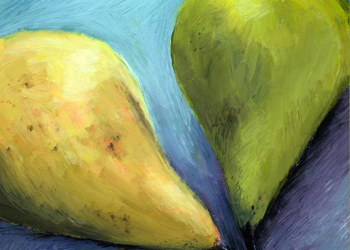 Pear Greeting Card featuring the painting Two Pears Still Life by Michelle Calkins
