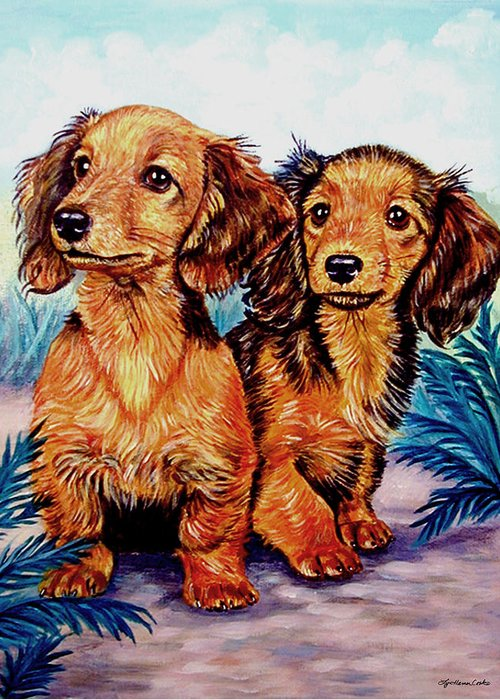 Dachshund Dog Greeting Card featuring the painting Two Peas In A Pod - Dachshund by Lyn Cook