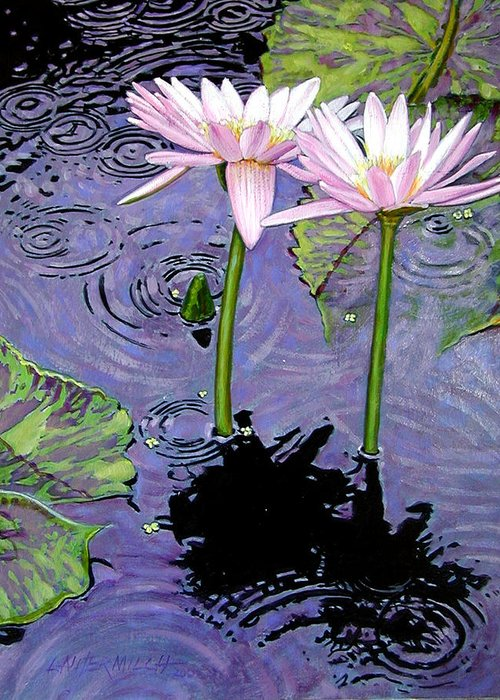 Pink Water Lilies Greeting Card featuring the painting Two Pink Lilies In The Rain by John Lautermilch