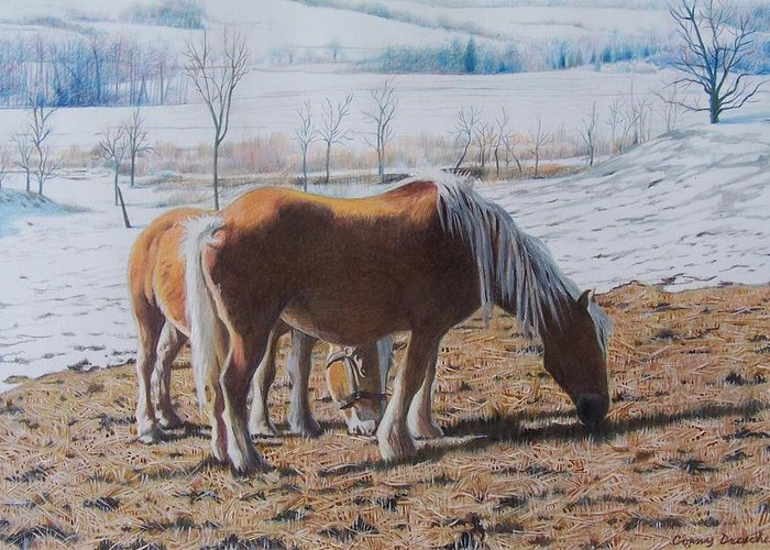 Horses Greeting Card featuring the mixed media Two Ponies In The Snow by Constance Drescher