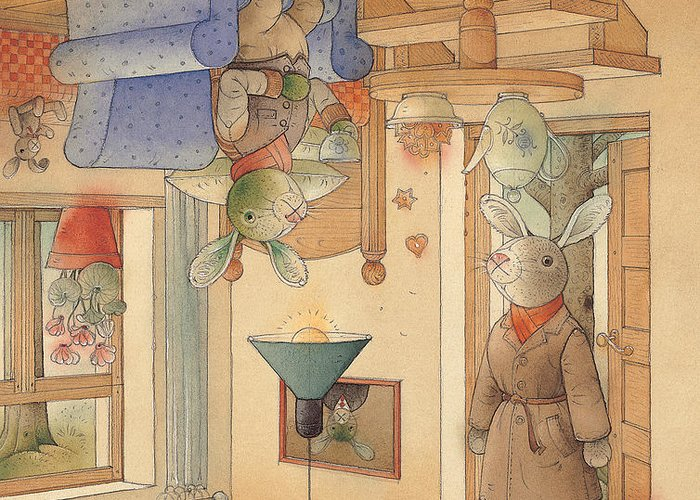 Rabbits Greeting Card featuring the painting Two Rabbits by Kestutis Kasparavicius