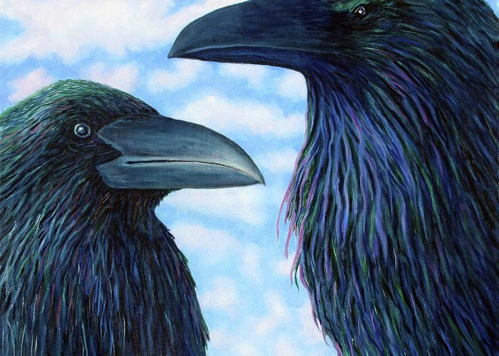 Raven Greeting Card featuring the painting Two Ravens by Brian Commerford