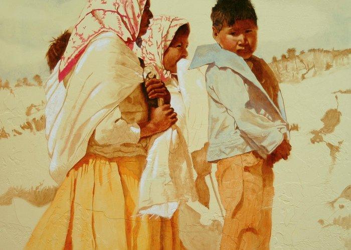 Tarahumara Greeting Card featuring the painting Two Red Bandanas by Robert Bissett
