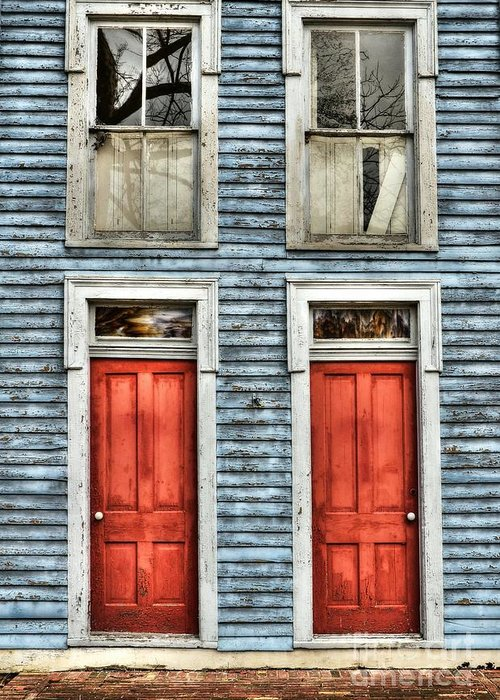 Mel Steinhauer Greeting Card featuring the photograph Two Red Doors by Mel Steinhauer