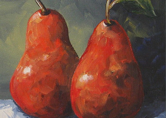 Pear Greeting Card featuring the painting Two Red Pears II by Torrie Smiley