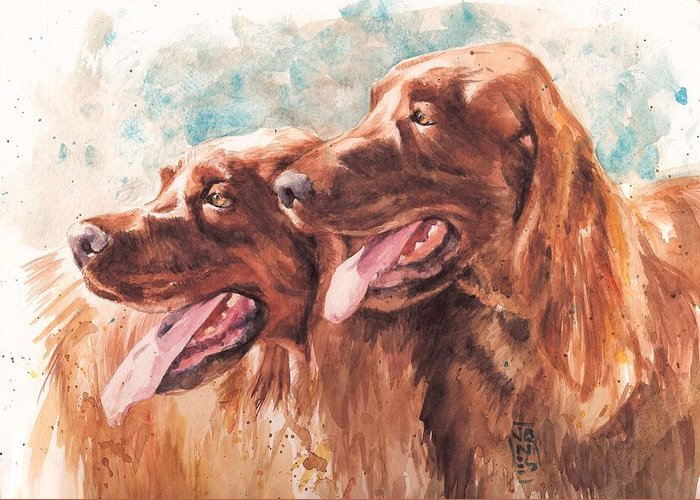 Irish Setter Dog Greeting Card featuring the painting Two Redheads by Debra Jones