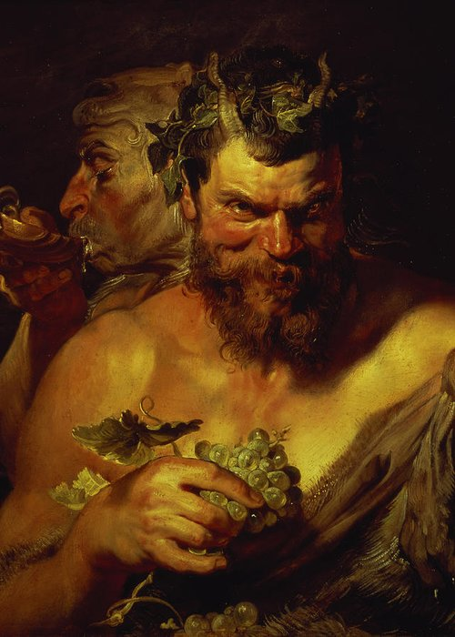 Baroque; Horns; Grapes; Drinking; Scallop Shell; Evil; Devilish Greeting Card featuring the painting Two Satyrs by Peter Paul Rubens