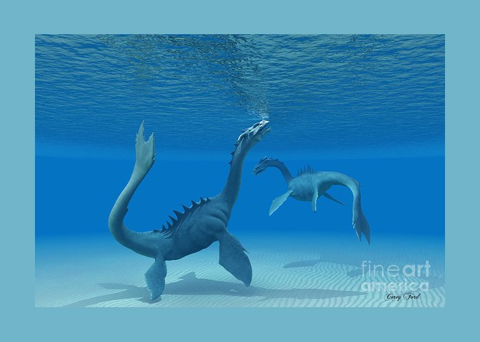 Sea Dragon Greeting Card featuring the painting Two Sea Dragons by Corey Ford