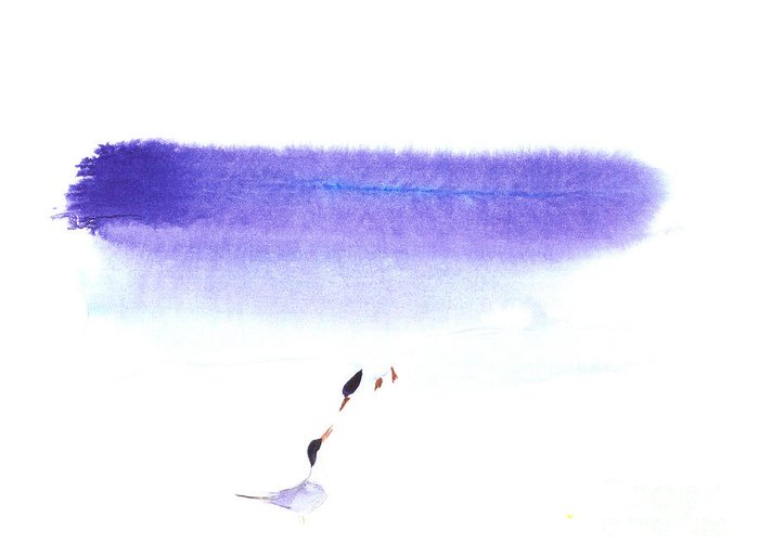 A Pair Of Seabirds By The Sea.  This Is A Watercolor Painting With Simple Zen Style Brush Strokes.  Greeting Card featuring the painting Two Seabirds by Mui-Joo Wee