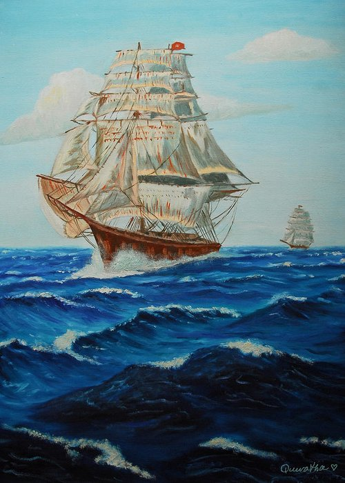 Ship Greeting Card featuring the painting Two Ships Sailing by Quwatha Valentine
