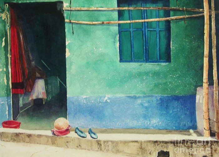 Guatemalan Home Greeting Card featuring the painting Two Shoes And A Melon by Elizabeth Carr