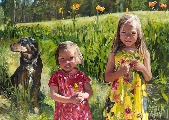 Tiger Lilies Greeting Card featuring the painting Two Sisters And Their Dog by Anke Hass