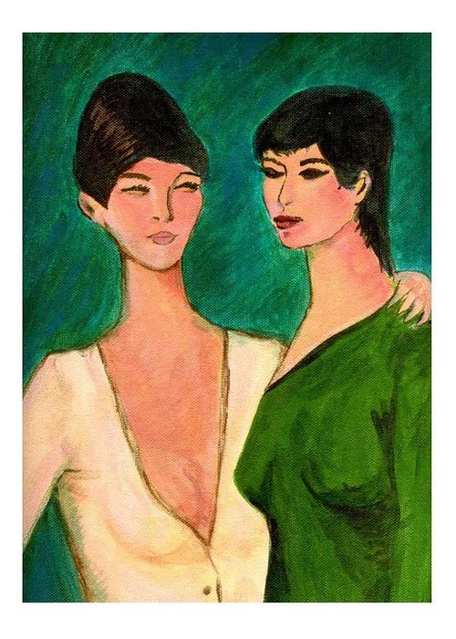 Two Sisters Greeting Card featuring the painting Two Sisters by Asha Sudhaker Shenoy
