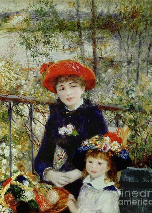 Two Greeting Card featuring the painting Two Sisters by Pierre Auguste Renoir