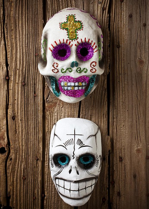 Mask Greeting Card featuring the photograph Two Skull Masks by Garry Gay