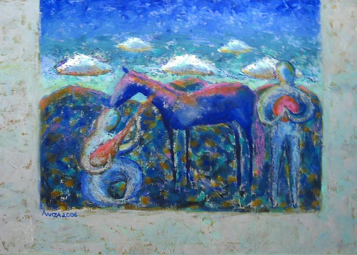 Horse Greeting Card featuring the painting Two Spirits by Aliza Souleyeva-Alexander