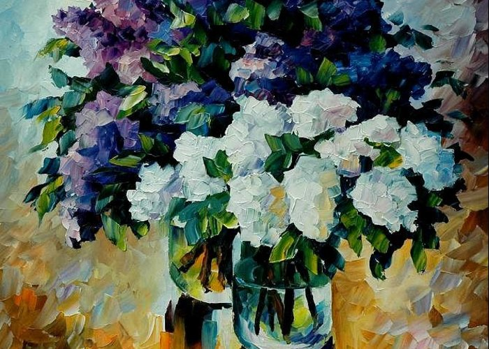 Painting Greeting Card featuring the painting Two Spring Colors by Leonid Afremov