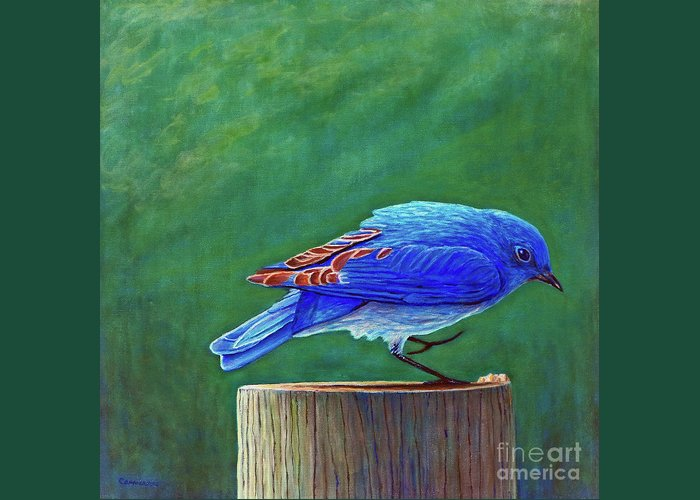 Bluebird Greeting Card featuring the painting Two Step by Brian Commerford