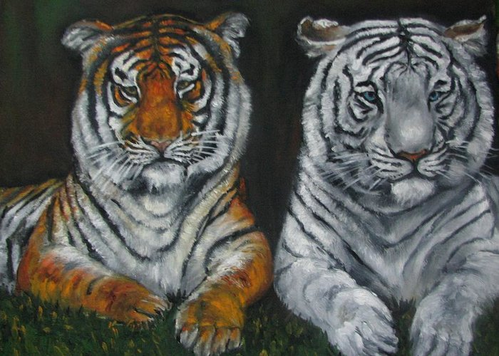 Tigers Greeting Card featuring the painting Two Tigers Oil Painting by Natalja Picugina