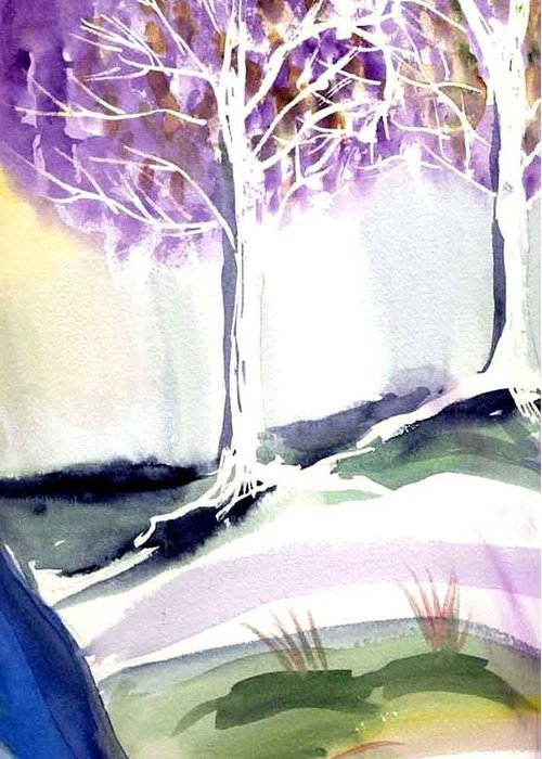Trees Greeting Card featuring the painting Two Trees by Janet Doggett