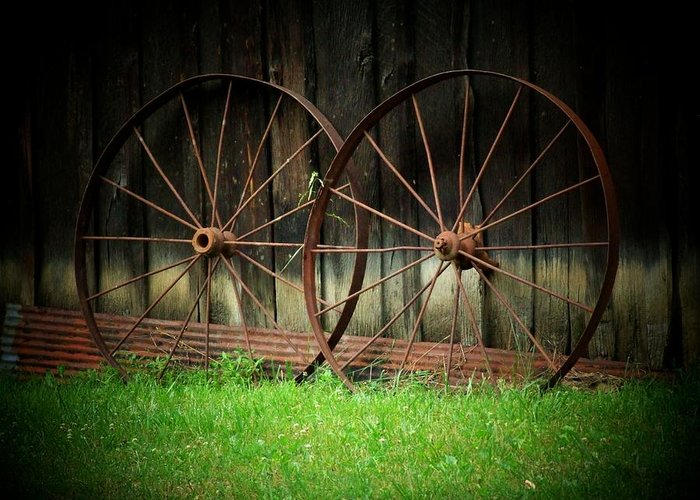 Wagon Wheels Greeting Card featuring the photograph Two Wagon Wheels by Michael L Kimble