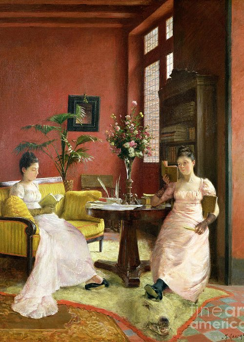 Two Greeting Card featuring the painting Two Women Reading In An Interior by Jean Georges Ferry