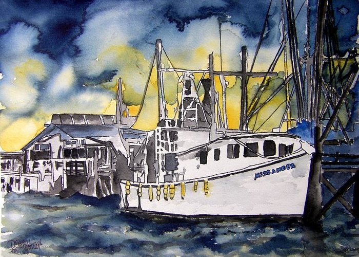 Georgia Greeting Card featuring the painting Tybee Island Georgia Boat by Derek Mccrea