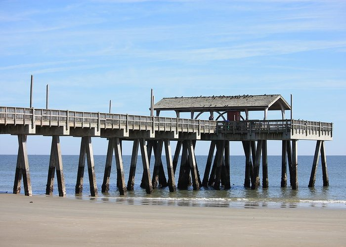 Tybee Island Pier Greeting Card featuring the photograph Tybee Island Pier Closeup by Carol Groenen