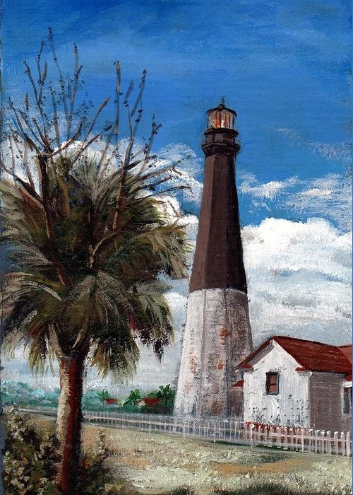 Lighthouse Greeting Card featuring the painting Tybee Lighthouse by Robynne Hardison