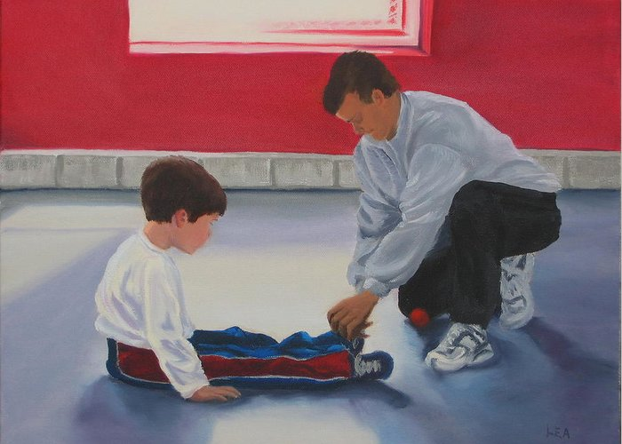 Child Greeting Card featuring the painting Tying Shoes by Lea Novak