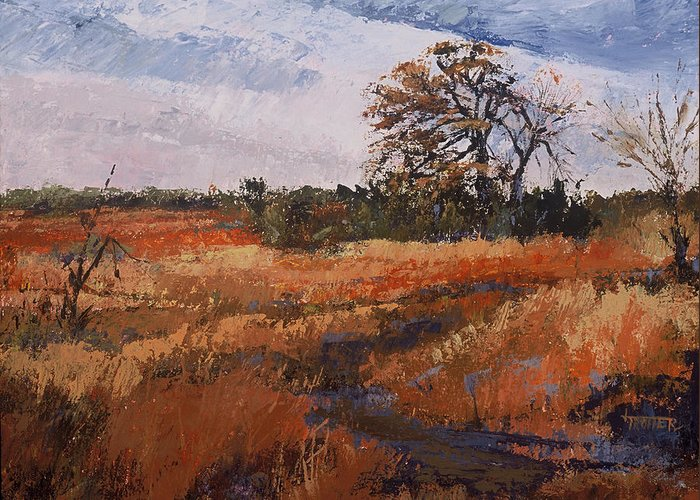 Landscape Greeting Card featuring the painting Typical Texas Field by Jimmie Trotter
