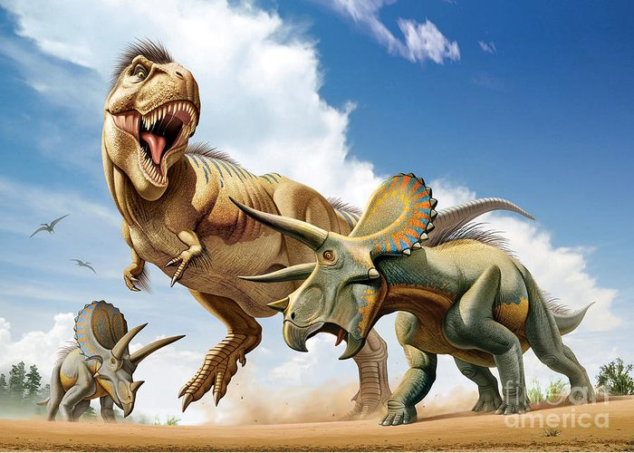 Horizontal Greeting Card featuring the digital art Tyrannosaurus Rex Fighting With Two by Mohamad Haghani