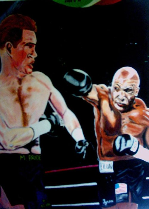 Mike Tyson Greeting Card featuring the painting Tyson by Colin O neill