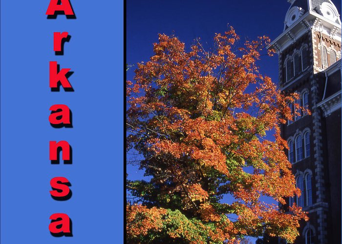 University Of Arkansas Greeting Card featuring the photograph U Of A Old Main by Curtis J Neeley Jr